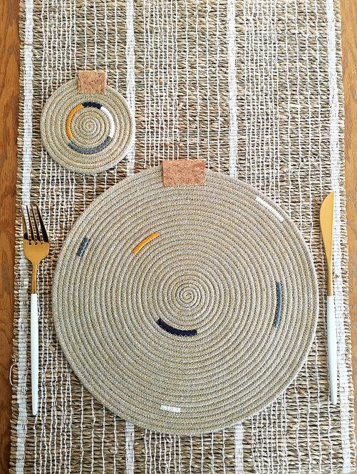 Block Colour Hemp Placemat & Coaster Sets