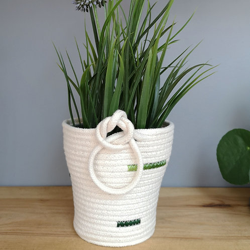 Knotted Cotton Rope Plant Pot