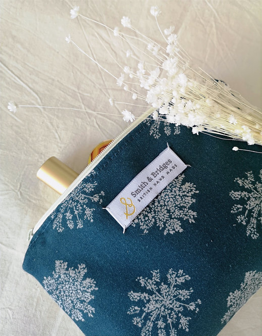 Blue Wild Chervil Cosmetic Pouch