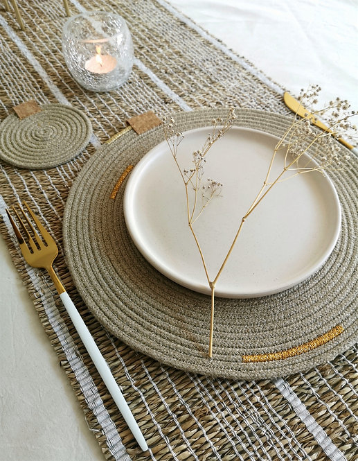 Gold Hemp Placemat & Coaster Sets