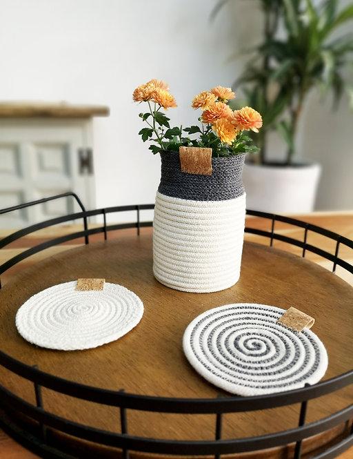 Charcoal Cotton Bud Vase