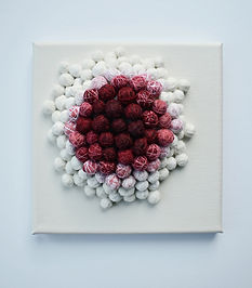 'Hope Balls on canvas': textile wall art - contemporary textile art