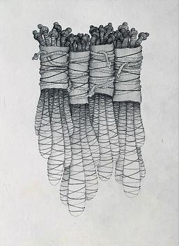 bundles textile art drawing - textile artist