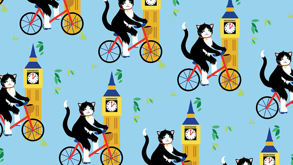 Cycling cat in London wrapping paper