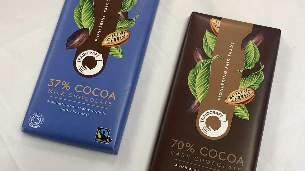 Fairtrade milk & dark chocolate 100g bars