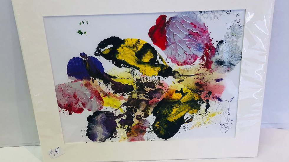 """""""Abstract colour print """"Bees on flower"""""""