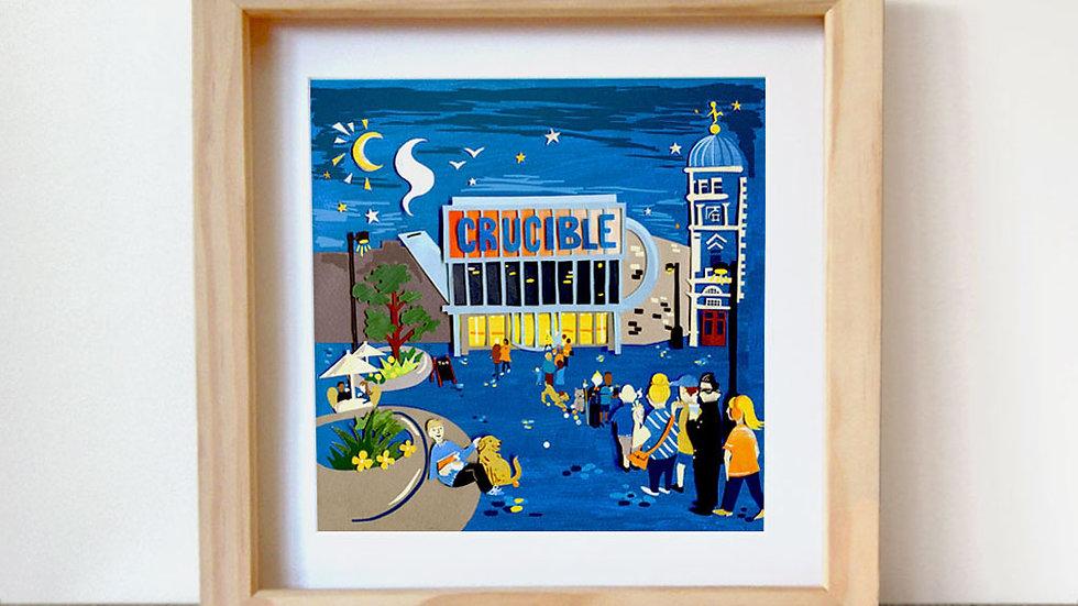 Crucible Theatre teapot art print