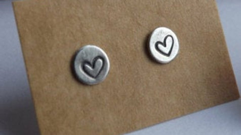 5mm solid silver stud or drop earrings with hearts, star or initial letter