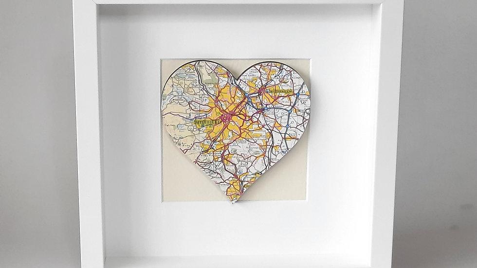 Framed Sheffield map heart