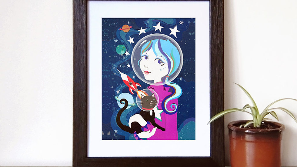 Space girl  and Space Kitty Print