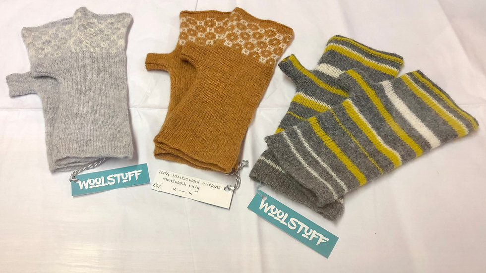 Knitted lambswool fingerless mittens.