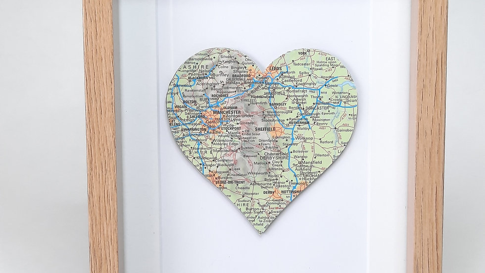 Sheffield map heart framed