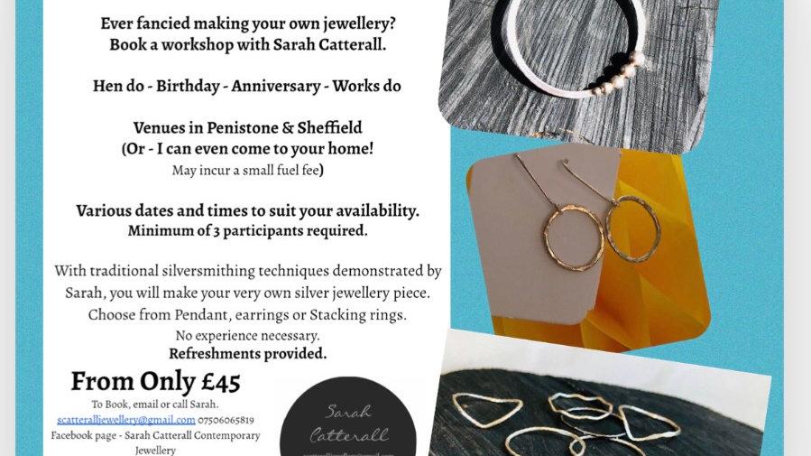 Silver jewellery workshops - rings - earrings - pendant