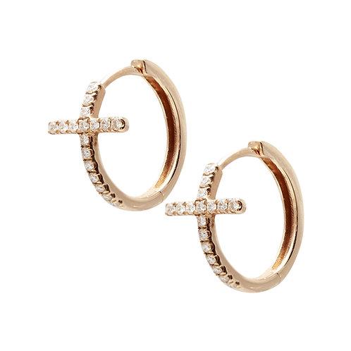 Cross medium hoops (rose or white gold)