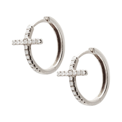 Cross medium hoops (rose or white gold)