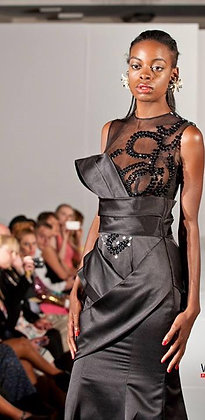 copy of Dramatic Black Satin unique miss Boss Gown