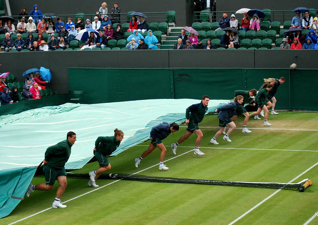 Covers on Court 2 Wimbledon 2012