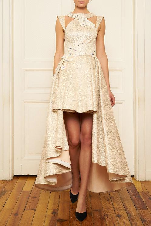 Özgül Engin - Gold Çiçekli elbise