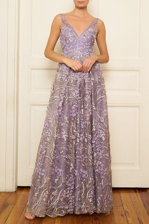 Özgül Engin - Çiçek detaylı lila elbise