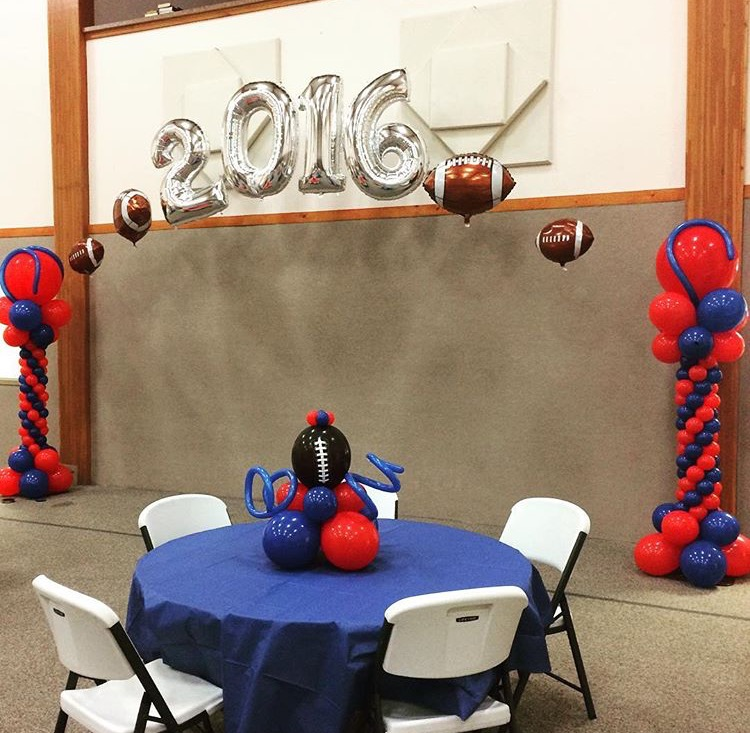 Football Columns, Helium Balloons, Centerpiece