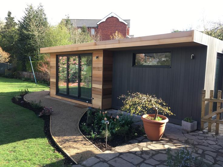 SIPs Garden office | Triple Glazed | Cedar and composite cladding