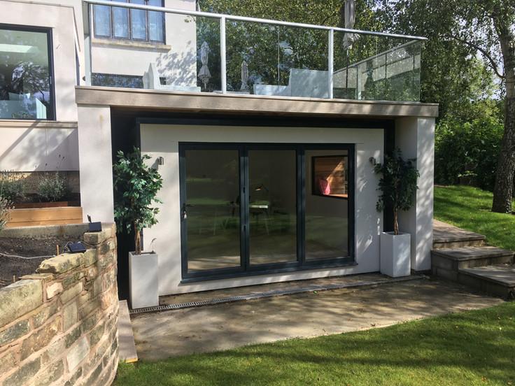 SIPs garden office built in Wilmslow backing onto Alderley golf course