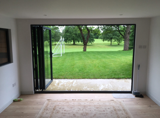 SIPs garden office looking out onto Alderley Golf course