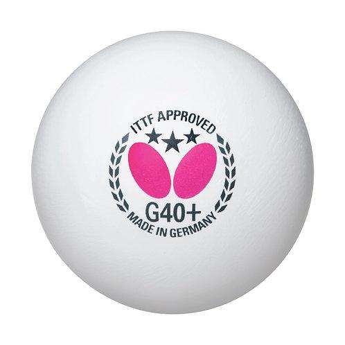 Butterfly G40+ 3-Star Ball White (3-Pack)