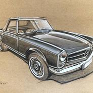 Mercedes SL Pagoda drawing
