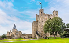 A view of Rochester castle and cathedral