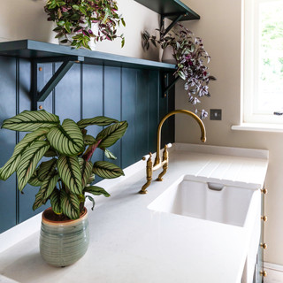 Green paneling with butler sink