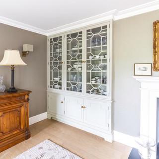 Fret work cabinet in living room
