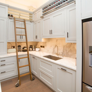 Grey shaker style kitchen with ladder