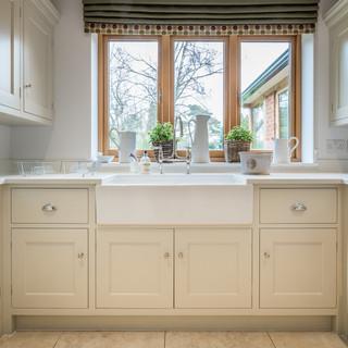 Shsker kitchen with belfast butler sink