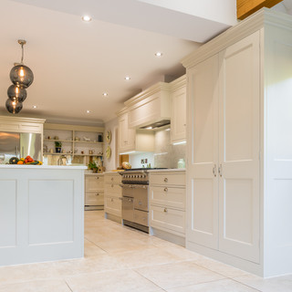 Shaker kitchen with island and range coo