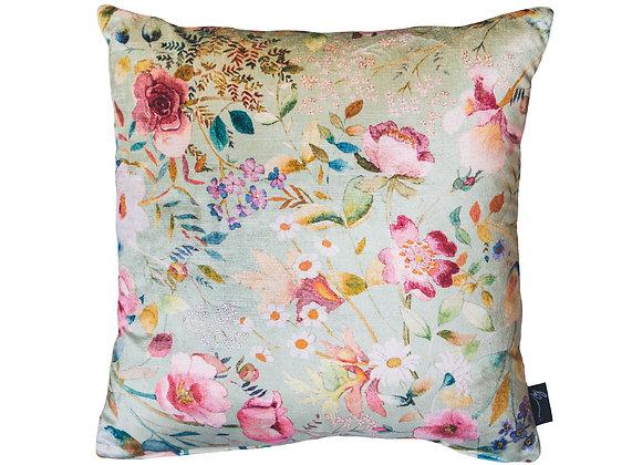 Pistachio & Peacock Velvet Cushion
