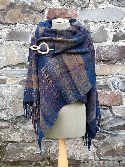 Deep in the Blue - Shetland Wool & Alpaca Wrap