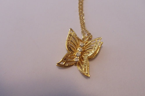 Vintage Butterfly Pendant with Sparkles