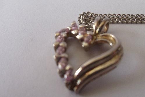 Necklace Vintage Pink Rhinestones on Heart Pendant