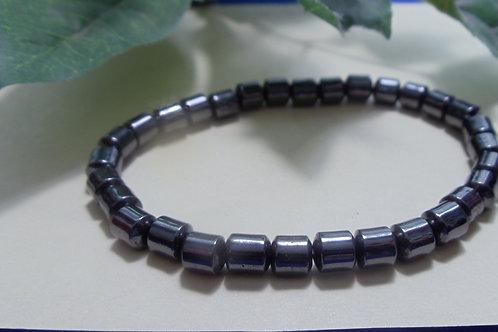 Bracelet Men's Hematite Stones in Round Rondelle Beads