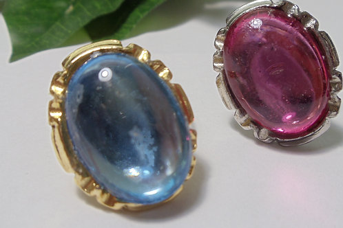 Rings in Gold or Silver with Either Sky Blue or Slightly Blush Color Gems