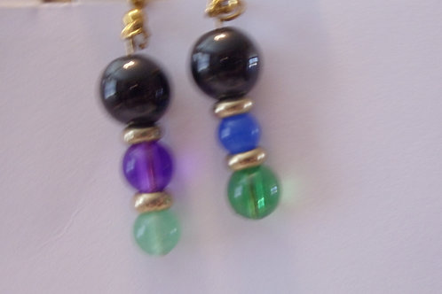 Vintage Earrings Blue, Green and Black Beads with Gold Spacers