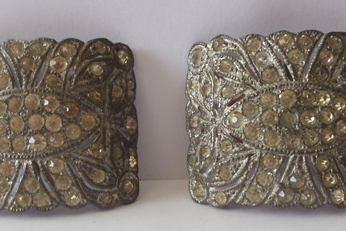 Shoe Buckles from Estate Sale, Silver and Shiny, Square
