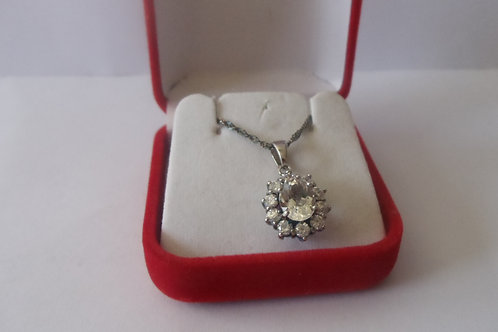 Necklace CZ Diamond and Sterling Silver Chain