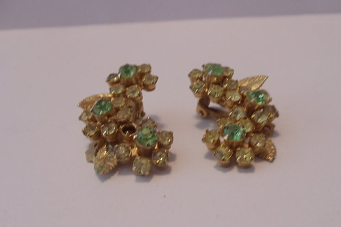 Rhinestone Earrings in Green and Clear, Clip-ons