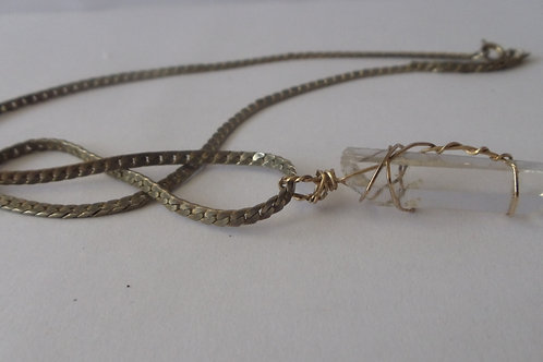 Necklace Vintage Crystal on Old Sterling Silver Chain