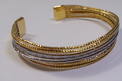 Bangle Bracelet Mens or Womens in Gold and Silver Wire Threads