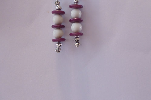 Vintage Earrings in Purple, White, Silver