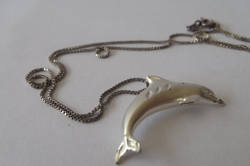 Necklace with Dolphin on Sterling Silver Chain