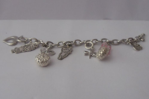 Bracelet Silver Charms on Sterling Silver Chain Bracelet